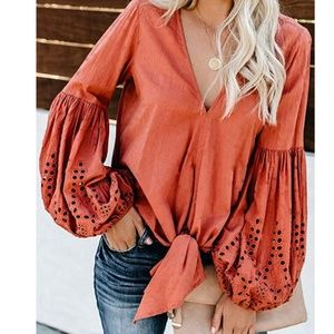 PATRICE Embellished Sleeve Tie Front Blouse
